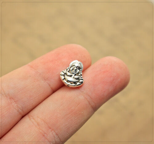 6 Perles Spacer Beads Zwischenteil Bijoux À faire soi-même Bricolage Bouddha argentés 11x10 5 mm