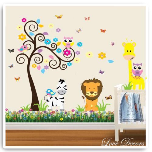 Animal Owl Wall Stickers Jungle Zoo Giraffe Nursery Baby Kids Bedroom Decals Art