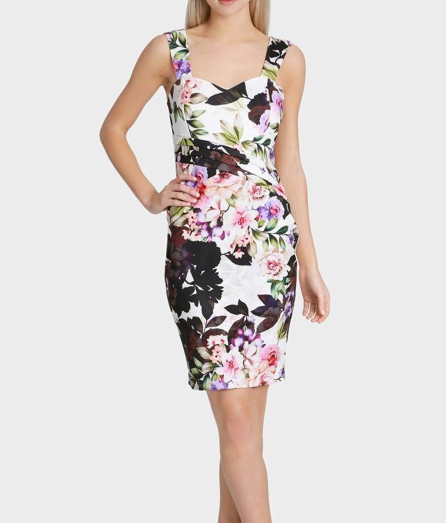 New Lipsy Floral Multi-Coloured Sweetheart Bodycon Dress Sz