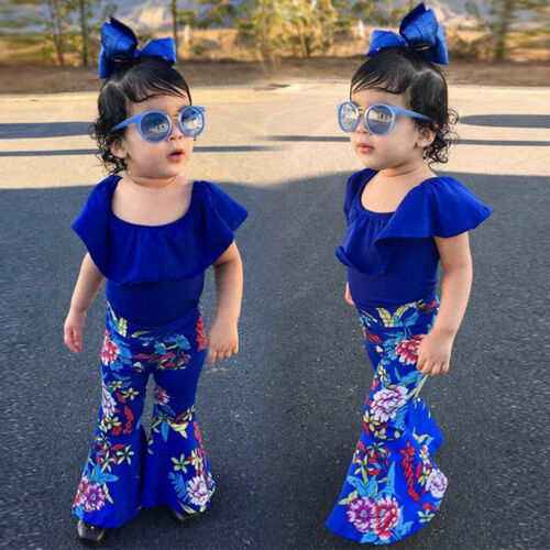 3PCS Toddler Baby Girl Kid Ruffle Top Tee+Floral Flare Pants+Headband Outfit Set