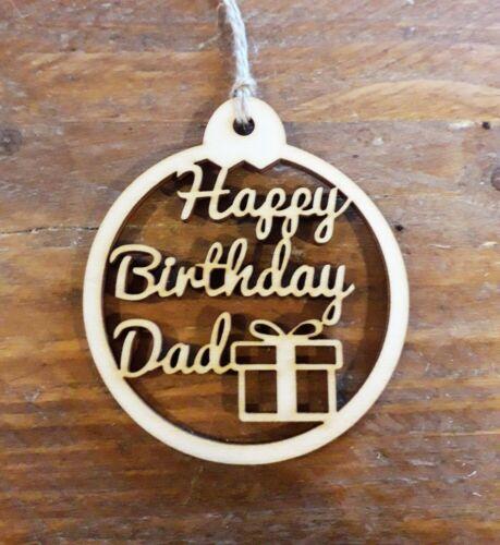 Papa heureux anniversaire cadeau Tag-Handmade-en Bois-Free Post UK