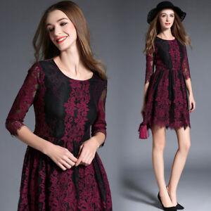 vestito corto abito scampanato  elegante rosso nero pizzo moda manica 4819