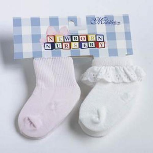 Free Shipping! New in Package White Socks 2 Pair Lee Middleton Pink