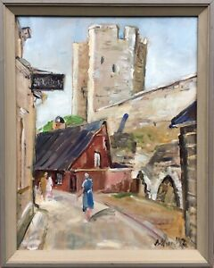 Oil-Painting-City-View-From-Visby-With-People-Sweden-Anders-Olsson