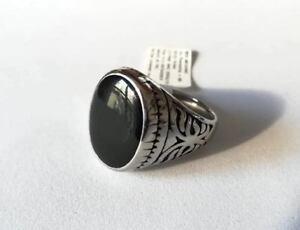 Anello Uomo Accaio Inossidabile color Argento Classico Ovale Nero Luminoso Glam