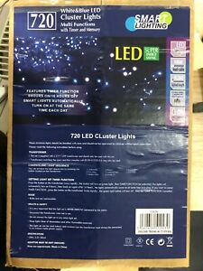 720 bleu et blanc CLUSTER lumières avec le temps et mémoire