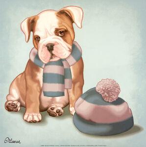 52246fcbcec BULLDOG ENGLISH BRITISH PUPPY FASHION DOG FINE ART PRINT - Wooly HaT ...