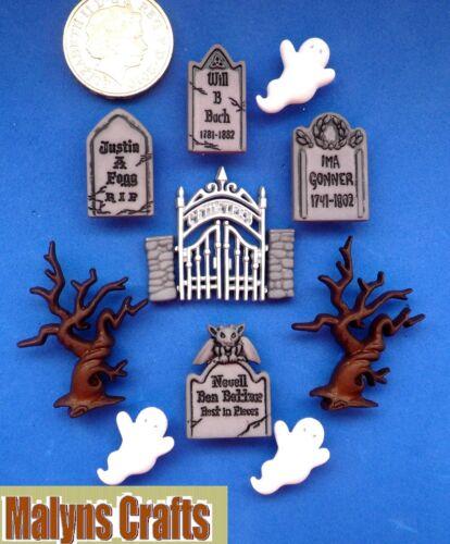 GRAVEYARD GHOSTS Craft Buttons 1ST CLASS POST Halloween Cemetery Spirit Themed