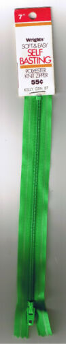 """7/"""" Polyester Self Basting Knit Zipper Wrights Kelly Green Made in USA"""