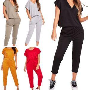 Activewear Womens V Neck Short Sleeve Baggy Loose Fit Tracksuit Ladies Jogging Suit Lot