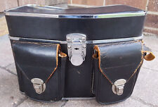 Vtg Camera Case-Black Genuine Top Grain Cowhide Leather-Handcrafted in Japan-Old