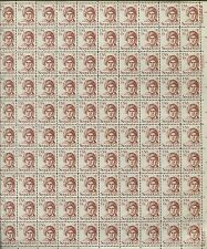 Pane of 100 USA Stamps 1859 American Silversmith Sequoyah -Brookman $62.50