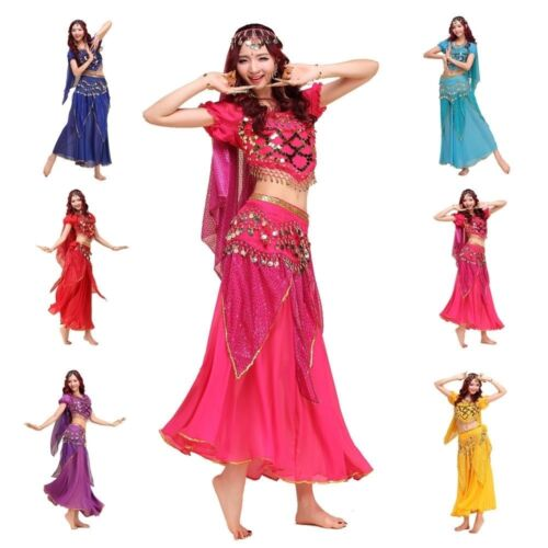 Oriental Belly Dance Performance Sequins Costume Outfit Indian Carnival Dancing