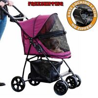 Large Pet Stroller Gear Cat Dog No Zip Travel Carrier Happy Cart Wheel Folding
