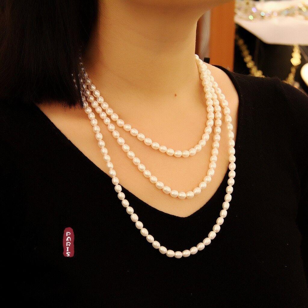 Collar Largo Collar Tres Hilera perla cultivada whiteo Nácar Gota Plateado TZ2