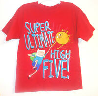 Adventure Time Boys T-shirt Red Super Ultimate High Five Size 10-12