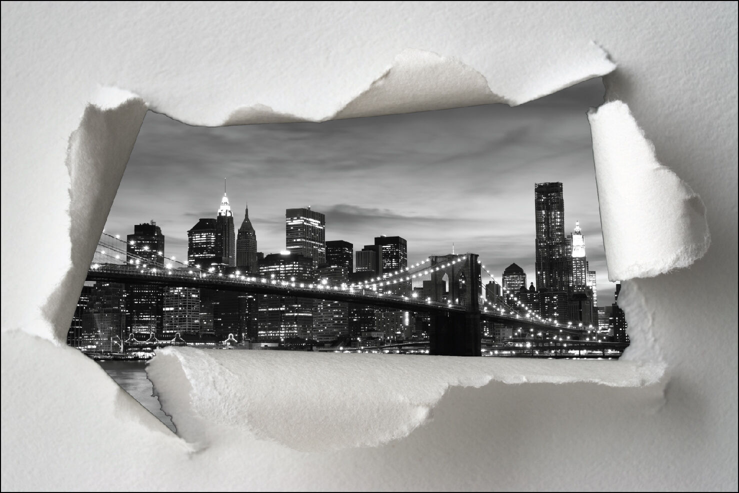 Aufkleber Schein Auge Papier Zerrissen Deko New York Brooklyn Ref 1355