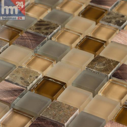 Glasmosaik Santanyi Naturstein Metall Element Mosaik beige grau kupfer braun Bad