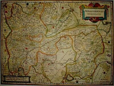 Historische Landkarte Bistum Münster, Sassenberg Wolbeck Bockholt Borkeloh 1658 Rheuma Und ErkäLtung Lindern