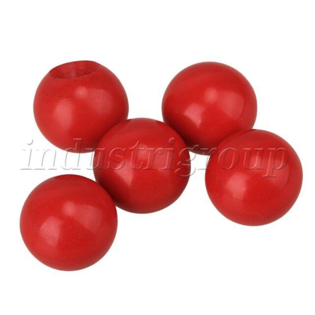 RDEXP 24mm Diameter Red Plastic Ball Shape Machine Control Operation Handle Knobs M6 Threaded Set of 5