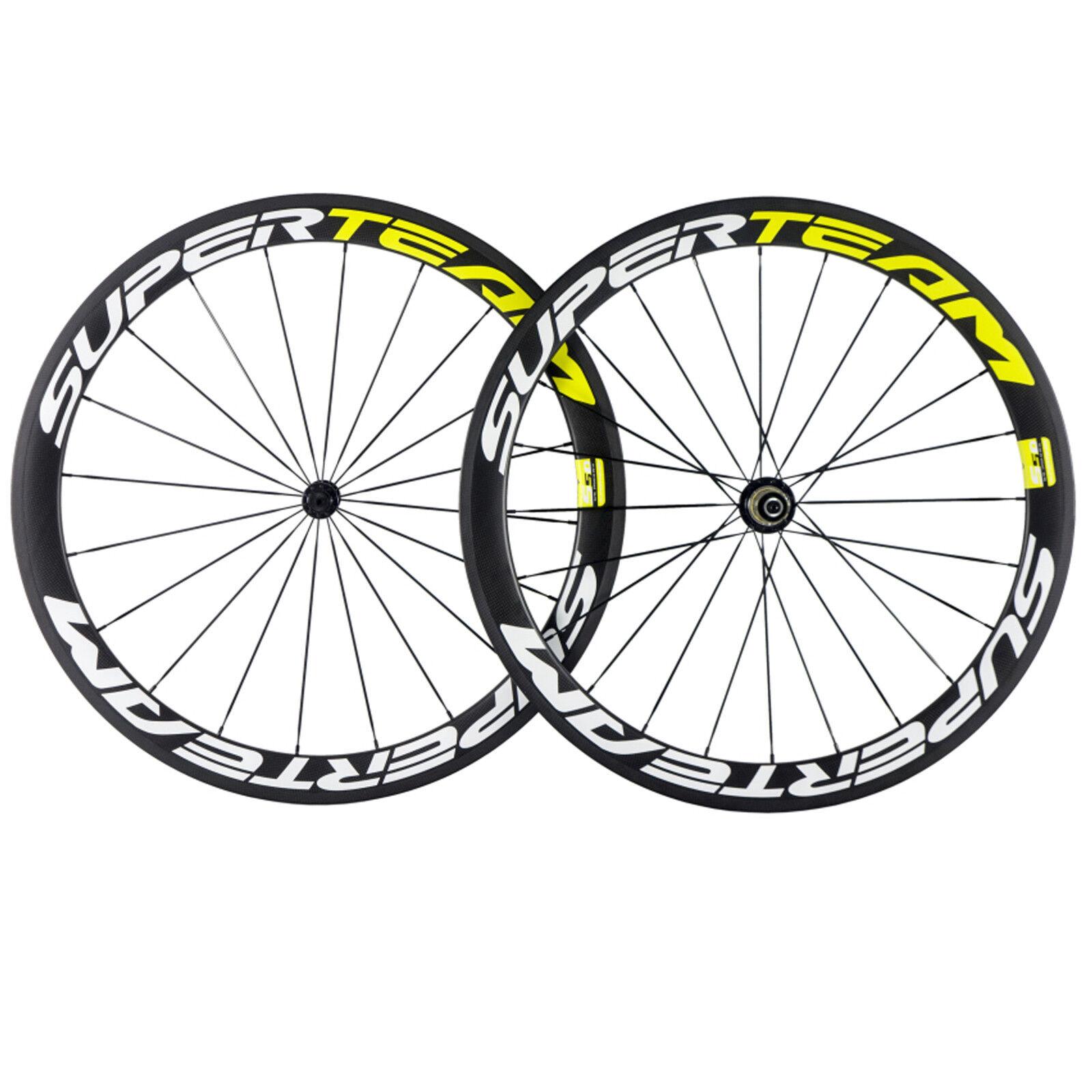 Superteam Carbon Wheels R13 Hub Yellow 50mm Depth Road Bike Bicycle Wheels F R
