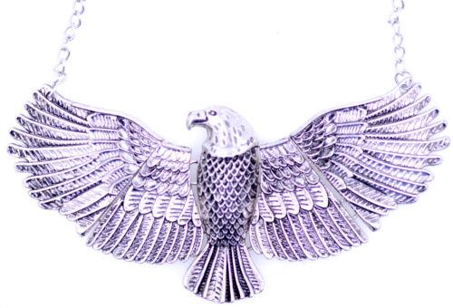 Vintage Art Deco style large silver coloured soaring eagle bird necklace