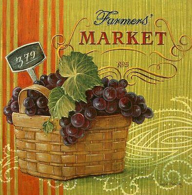 Angela Staehling: Farmers Market Vintage Fertig-Bild 30x30 Gemüse Obst Wandbild