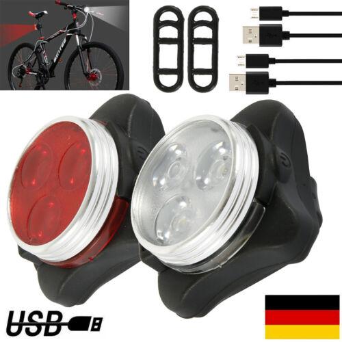 Fahrradlampe Fahrradlicht LED Mit USB Vorne Hinten beleuchtung Rücklicht-Schwarz