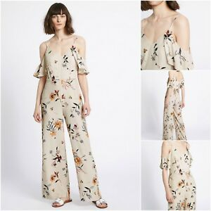 for sale new season later Details about NEW M&S MARKS & SPENCER JUMPSUIT PLAYSUIT CREAM FLORAL COLD  SHOULDER 6 - 18