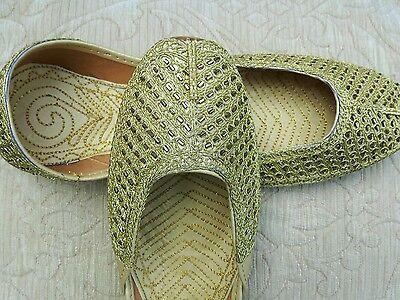 Oro señoras Indio Boda Fiesta Khussa tamaño del zapato 8