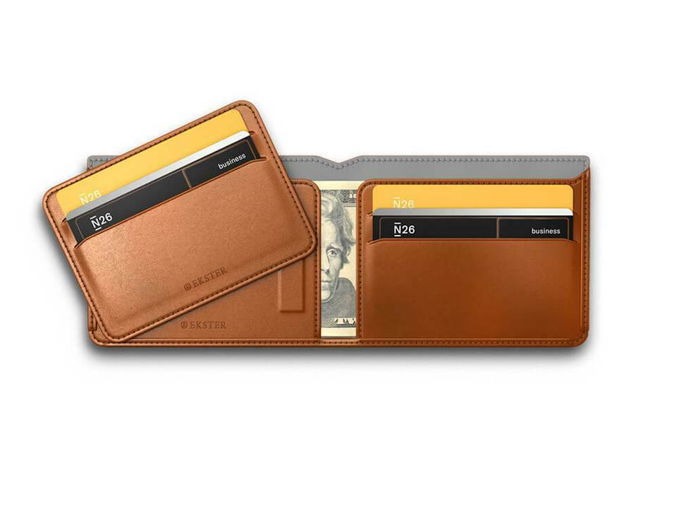 Ekster Tan Modular Bifold RFID Blocking Removable Cardholder Leather Wallet