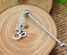 "Om industrial barbell scaffold 1-1/2"" 14G stainless steel bead dangle gem"