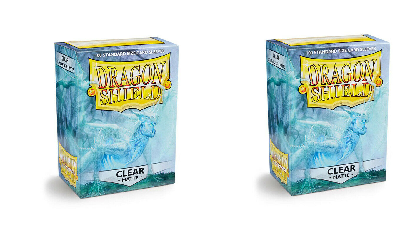 Dragon Shield Supply Bundle 2 Packs of Matte Night Blue Sleeves Standard Size Night Blue Four Compartment Box + 2 Packs of Clear Sleeves