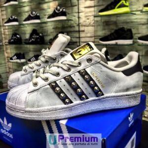 Superstar Originali Nere 100 Bianche ® 2018 Italia Scarpe Adidas Borchiate fxnfH