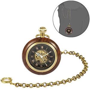 Antique-Mechanical-Wind-up-Skeleton-Steampunk-Vintage-Gear-Roman-Pocket-Watch