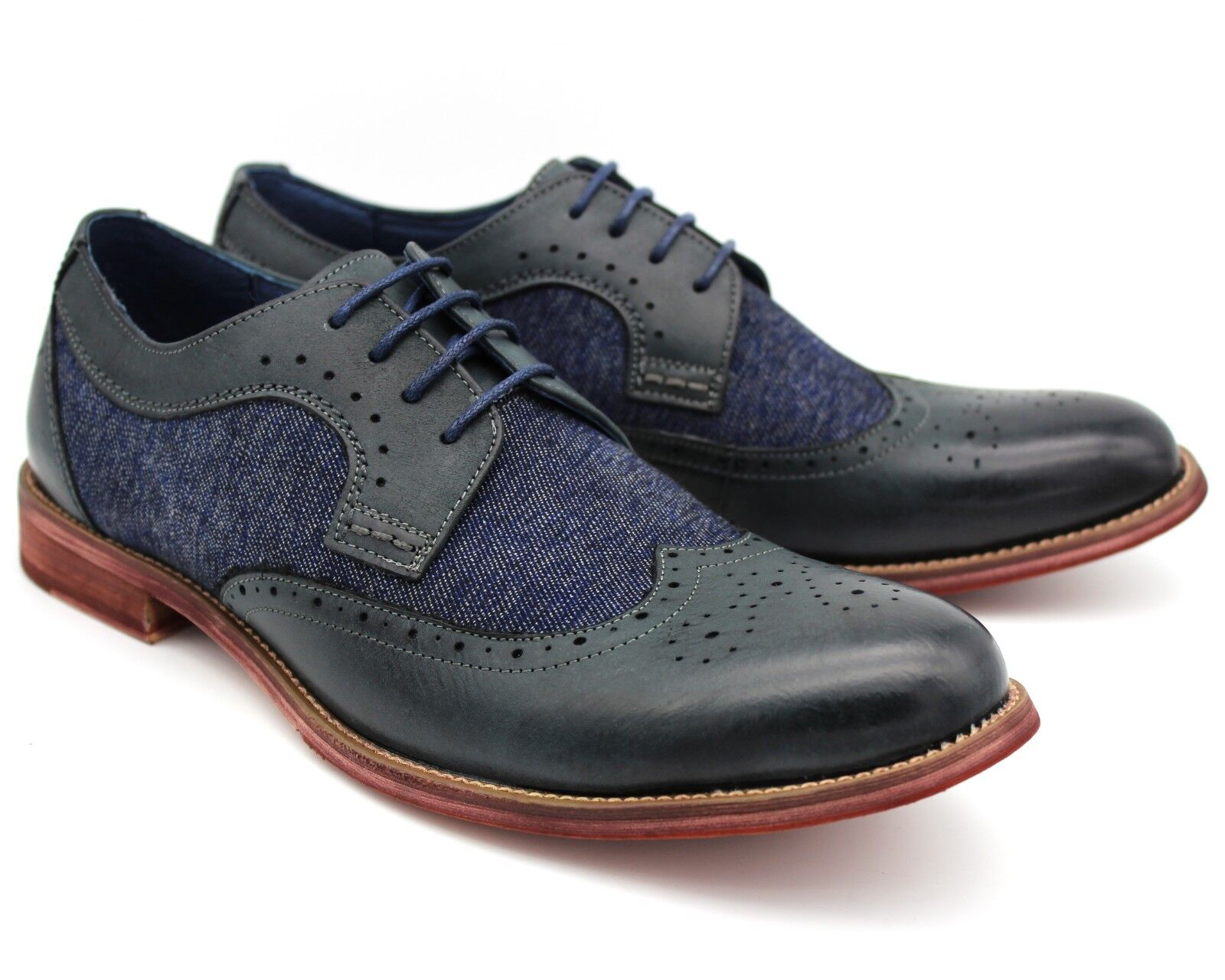 OSCAR NEW MENS NAVY blueE REAL LEATHER CASUAL BROGUE SHOES OFFICE WORK EU46