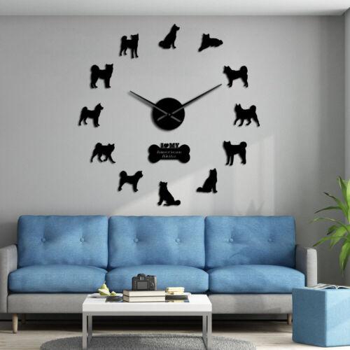 American Akita Dog Breed Wall Clock American Hakita Puppies Silhouette Sticker