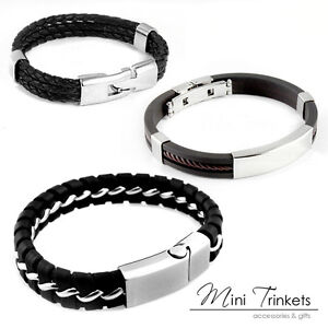 Mens-Boys-Leather-Braided-Wristband-Bracelet-Stainless-Steel-Bangle-Wrap-Black