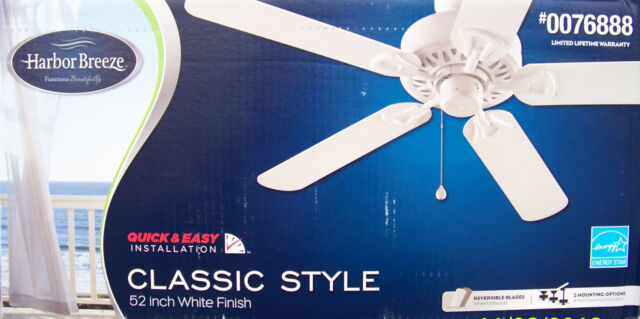 Harbor breeze classic 52 in white downrod or flush mount ceiling fan harbor breeze 52 5 blade classic style energy star ceiling fan aloadofball Image collections