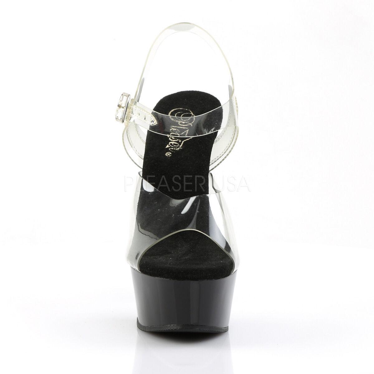 Pleaser Delight - 608 Donna NERO Tacco Tacco Tacco a Spillo Piattaforma Slide Scarpe Cinturino alla Caviglia | Area di specifica completa  | Uomini/Donna Scarpa  ed80b7