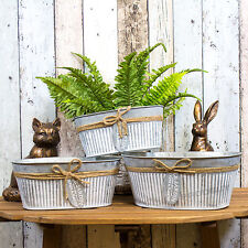 Set of 3 Oval Le Jardin Plant Pots Troughs Flower Window Box Planters Covers
