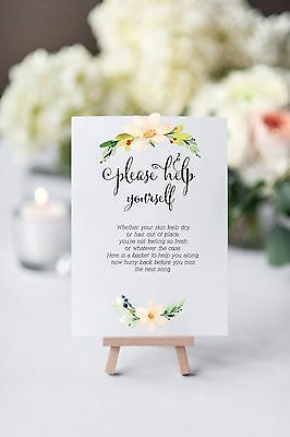 A4 Floral Banner Wedding/Party Toiletries/Bathroom sign-spoil your guests!