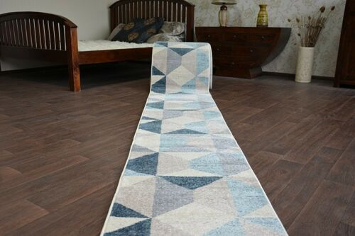 """blue triangles Width 60-100cm extra long Stairs Modern Hall Runner /""""NORDIC grey"""