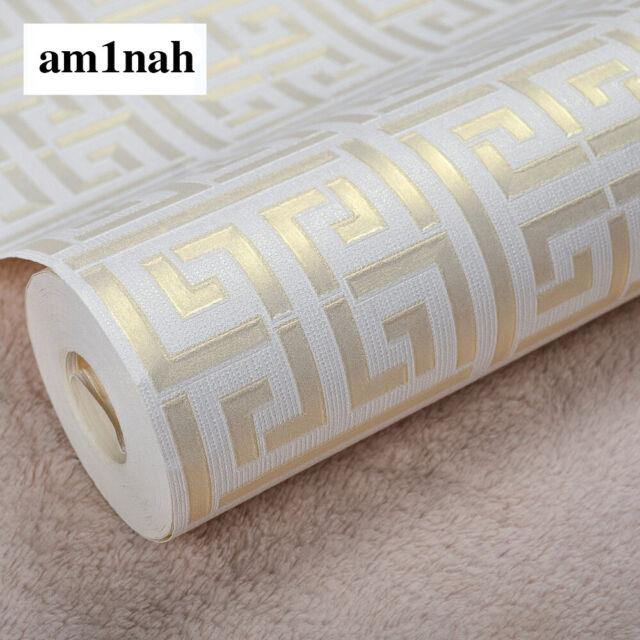 Modern Greek Key Luxury Designer Wallpaper Roll Geometric Effect