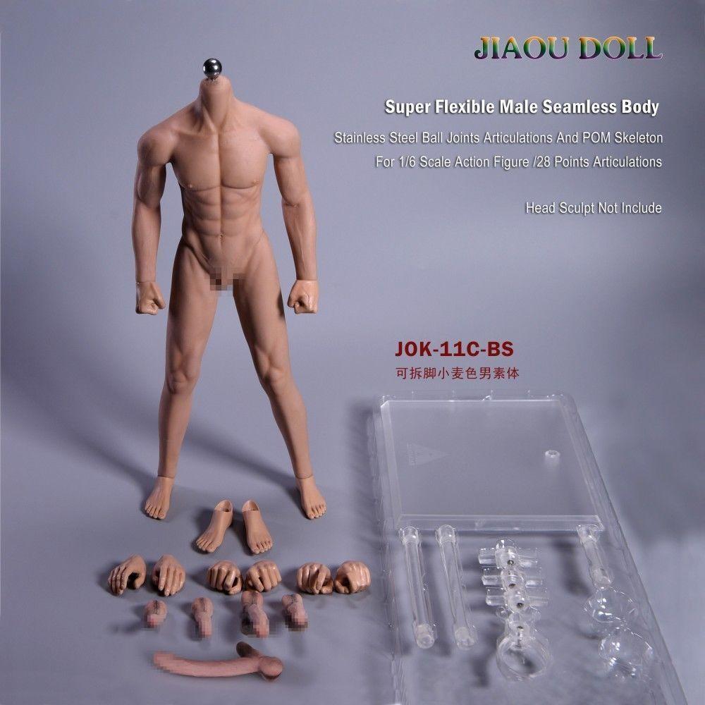 1 6 JOK-11C-BS Male Figure Detachable Foot Male Body Flexible Doll Wheat Skin
