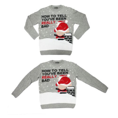 Homme Adultes Nouveauté Coquin Bad Santa drôle cheminée Noël Jumpers de Noël UK