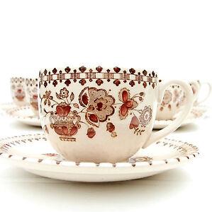 Vintage-Johnson-Brothers-Old-Granite-Jamestown-Tea-Coffee-Set-5-Cups-Saucers