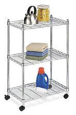3 Tier Shelves On Wheels, Kitchen Rolling Cart Dry Storage Organization - Chrome