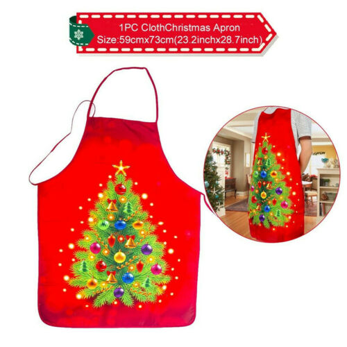 Merry Christmas Santa Elk Apron Adults Kitchen Cooking Chef Bib Xmas Gift Supply