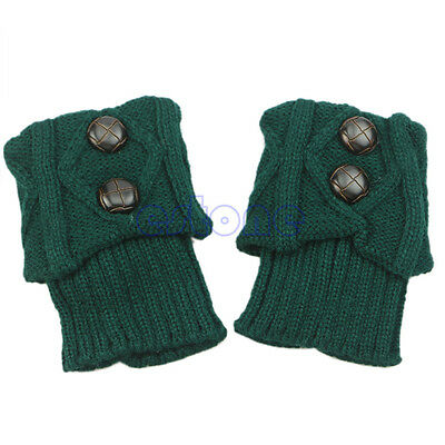 Women Winter Leg Warmers Socks Button Crochet Knit Boot Socks Toppers Cuffs Hot